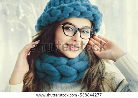 trendy eyeglasses ysgm  Close up portrait Young beautiful happy smiling girl looking at camera  Model wearing eyeglasses