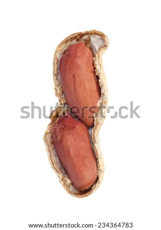 Close - up Raw dried peanut on white background
