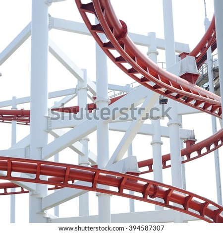 Close up red coaster tracks