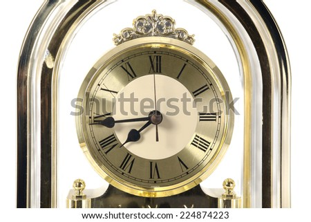 Close up retro clock face on white background.