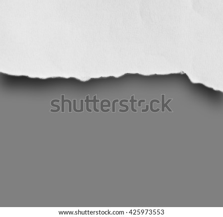 Close up Ripped paper on grey background with clipping path.