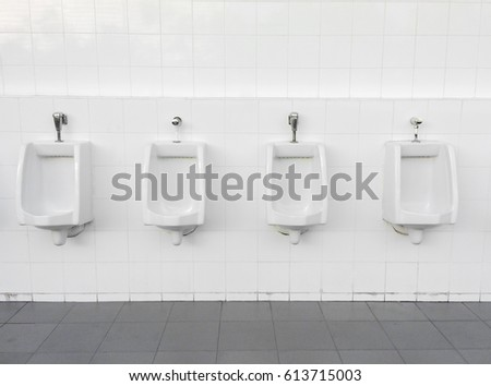 Close Up Row Of Outdoor Urinals Men Public Toilet,Closeup White Urinals In  Menu0027s Bathroom