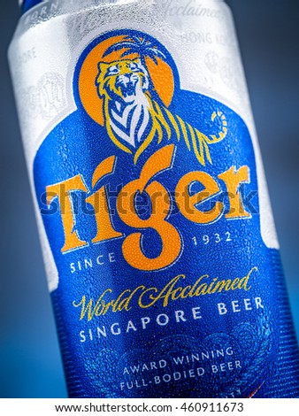Close-up shot of a can of Singapore Tiger beer