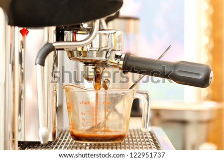 Close up shot of coffee machine
