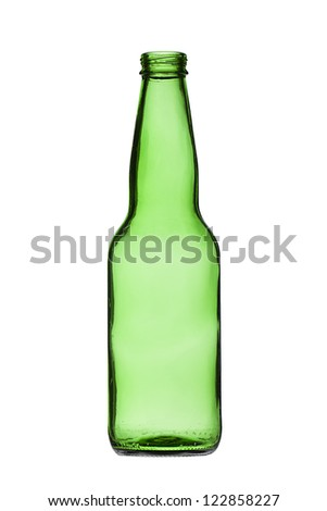 Close-up shot of green plastic bottle on white background.