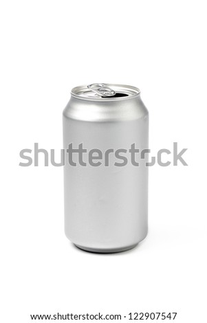 Close-up shot of silver tin can isolated on white background