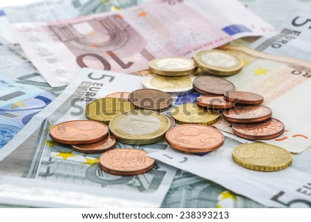close-up shots in macro lens money euro coins and banknotes