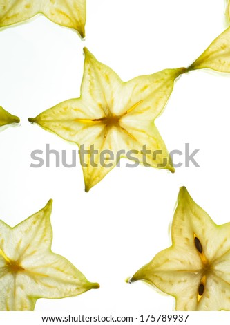 close up star fruit white background