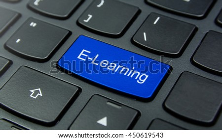 Close-up the E-Learning button on the keyboard and have Blue color button isolate black keyboard