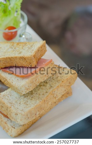 close up toasted sandwich with ham and cheese on dish