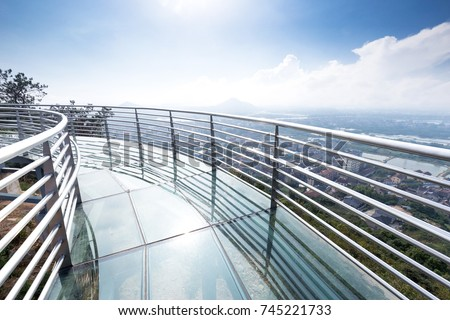 Perspective Modern Glass Steel Balcony Deck Stock Photo