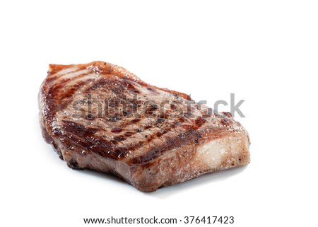 close  up view of nice yummy fresh steak on white back