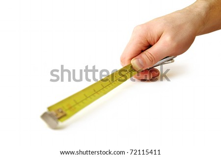 Close up view of the tape-measure in hand