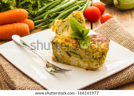Close up view of vegetable flan