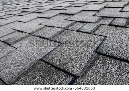 Close Up View On Asphalt Roofing Shingles Background. Roof Shingles    Roofing. Roof Shingles
