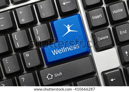 Close-up view on conceptual keyboard - Wellness (blue key)