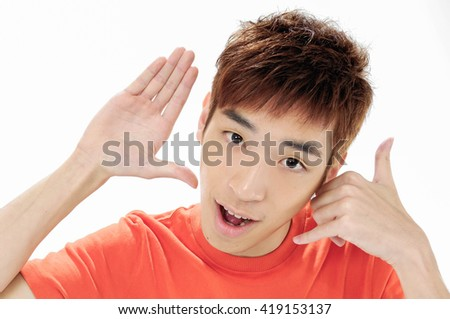 Close up -young casual man with hands gesture