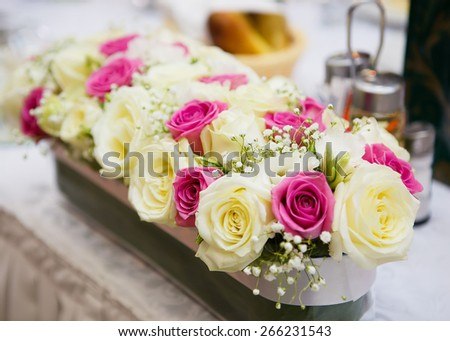 Close view at the floral wedding decorations