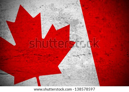 Close view of a vintage canadian flag illustration