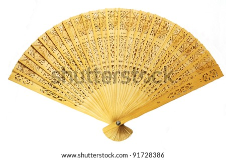 Close view of fully stretched wooden japanese fan