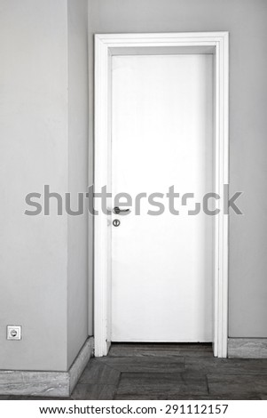 Closed Plane White Door in Home Interior & Plane White Panel Door Home Interior Stock Photo 148745348 ... Pezcame.Com