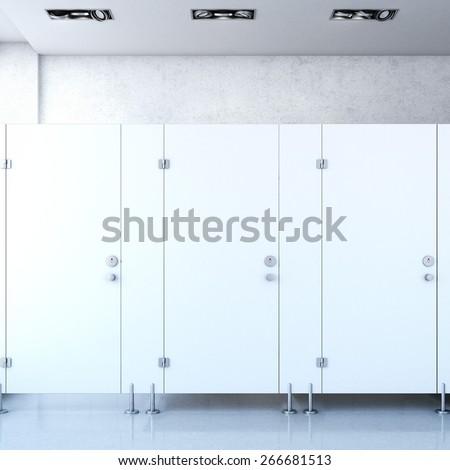 Public Toilet Cubicle 3d Rendering Stock Illustration