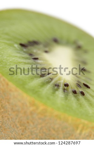 Closed up shot of a sliced kiwi fruit