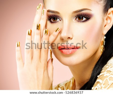 Closeup beautiful face of glamor woman with black eye makeup