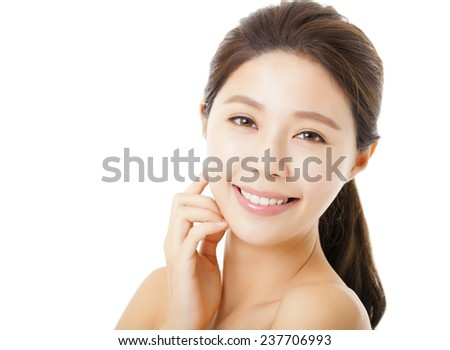 closeup beautiful young  woman face isolated on white
