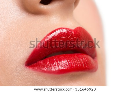 Closeup image of beautiful sexy lips with bright red lipstick