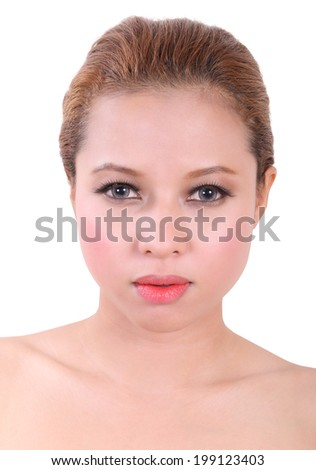 closeup image of portrait beauty young asian woman on White Background