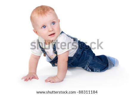 closeup image of the cute little baby isolated on white