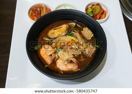 Closeup Jjamppong Or Jjampong Korean Spicy Seafood Noodle Soup