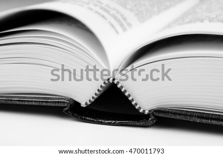 Closeup low angle take of an open book