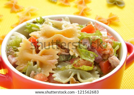 closeup of a bowl with refreshing pasta salad
