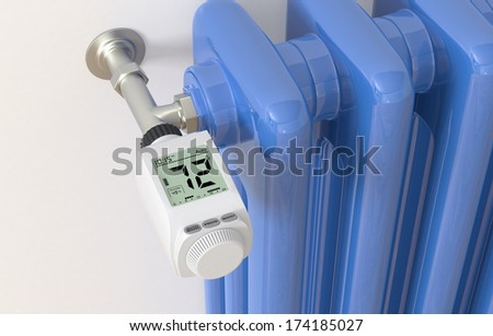 closeup of a digital thermostat and a radiator (3d render)
