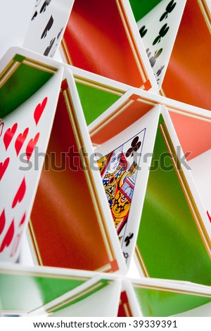 Closeup of a house built of playing cards