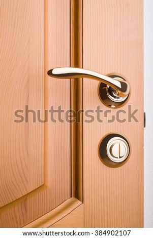 Closeup of a metal handle on wooden door