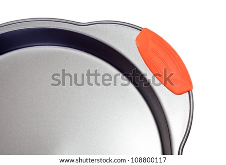 Closeup of  cooking pan over white background