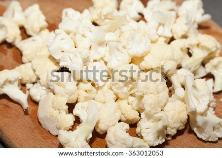 Closeup of cut white cauliflower with selective focus