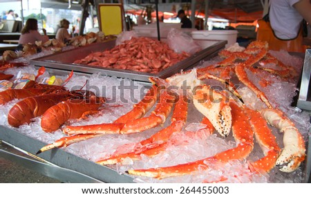 Closeup of delicious lobsters, crabs and king crabs in Bergen fish market, Norway