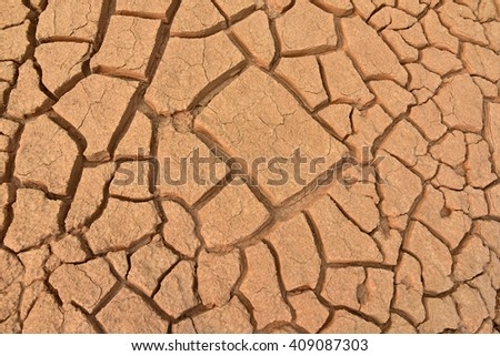 Closeup of dry land. Cracked ground background.