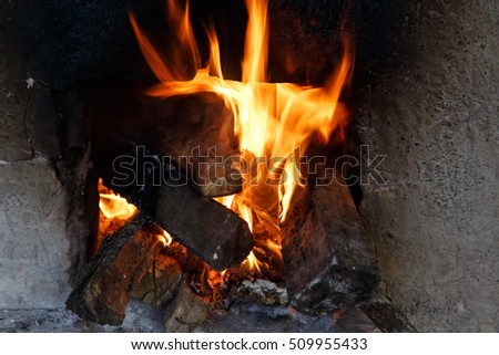 closeup of fire from an wood Oven