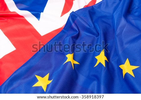 Closeup of Flags of Great Britain and European Union