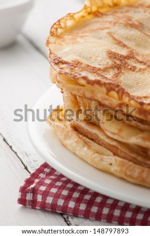 closeup of fresh pancakes on plate