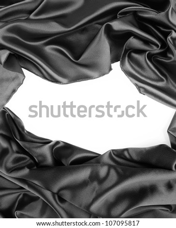 Closeup of gap in silk fabric on white