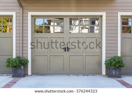 Closeup of garage door with windows