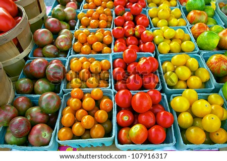 Closeup  of just harvested heirloom tomatoes at Delaware farmers market