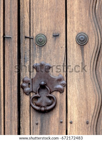 Closeup of lock on front door to Mission Santa Ines Solvang California. & Door Knocker Shape Ring Lock Wood Stock Photo 153882353 - Shutterstock pezcame.com