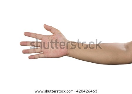 Closeup of male hand pointing. Isolated on white background